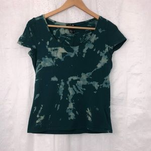 H&M Green Custom Bleach Tie Dyed T-Shirt